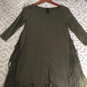 Olive green fringe dress